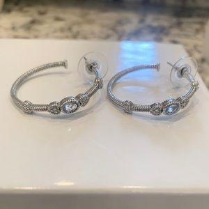 Judith Ripka Stone & Heart hoop earrings